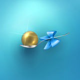 Glossy vector gold sphere in spoon Stock Photo