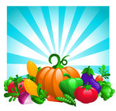 Glossy Vegetables on Bursting Background. Vector illustration with colorful glossy vegetables on blue bursting background vector illustration