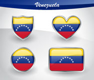 Glossy Venezuela flag icon set Stock Photography