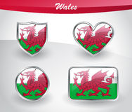 Glossy Wales flag icon set Royalty Free Stock Images