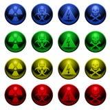 Glossy warning symbols Stock Photos