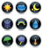 Glossy Weather Buttons. Nine weather icons on glossy black buttons Royalty Free Stock Image