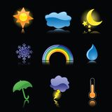 Glossy Weather Icons on Black. Nine glossy weather icons, reflected on black. Perfect for rain or shine Stock Photos