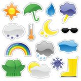 Glossy Weather Stickers. Including rain boot and partly cloudy stickers. Blends used, unexpanded for easy editing Stock Photo