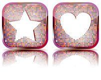 Glossy web button with favorites icon. Stock Photography