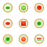 Glossy web button icons set, cartoon style Stock Images