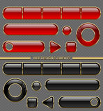Glossy web button set. Red and black in golden frame isolated on transparent background. Transparency in additional format only Royalty Free Stock Photography