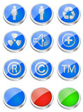 Glossy web buttons. Set of three dimensional glossy web buttons Stock Images
