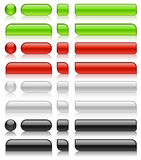 Glossy web buttons. Of different shapes in green, red, white and black colors stock illustration