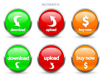 Glossy web buttons Stock Images