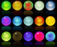 Glossy web buttons icons. On black background Stock Photo
