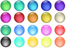 Glossy web buttons icons. In various colors Stock Image