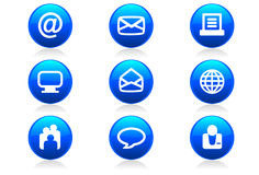 Glossy Web Buttons and Icons #2. A set of 9 glossy internet buttons and icons Royalty Free Stock Photos
