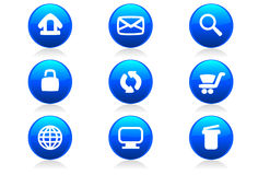 Glossy Web Buttons and Icons. A set of 9 glossy internet buttons and icons Stock Images