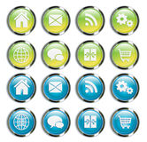 Glossy Web Buttons Set in Chrome Stock Photo