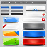 Glossy web design elements. Glossy web buttons, banners and ribbons vector illustration