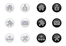 Glossy Web Icon Set. Shiny web icon set in two colors Royalty Free Stock Image