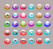 Glossy web Icon Set for Website Applications Royalty Free Stock Photos