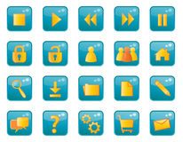 Glossy web icons. Set of 20 web site buttons Royalty Free Stock Images