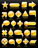 Glossy web shapes. Brightly yellow, glossy web shapes collection with reflection on black background royalty free illustration