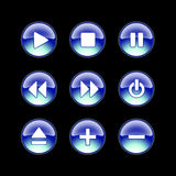 Glossy webbsite audio icons. Blue glossy audio icons on black background Stock Photos