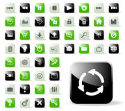 Glossy Website or Application Icons. An illustrated background of a set of glossy icons for websites and various computer applications, isolated on a white Stock Images