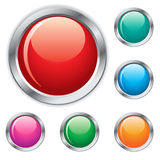 Glossy website buttons. Beautiful website glossy buttons with colors Stock Photos