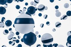 Glossy white and blue spheres, white background. Smooth and glossy white and blue spheres falling over white background. Concept of future technology, art and Stock Illustration