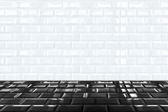 Glossy White Ceramic brick tile wall and black tile floor Royalty Free Stock Image