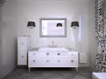 Glossy white furniture in bathroom Stock Image