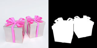 Glossy white and pink gifts with alpha mask. 3D render. Royalty Free Stock Image