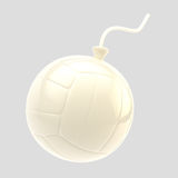 Glossy white volleyball ball as a bomb isolated Stock Image