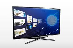 Glossy widescreen high definition tv screen with streaming video Royalty Free Stock Photos