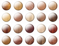 Glossy Wooden buttons Stock Photo