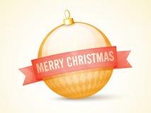 Glossy Xmas Ball with ribbon for Christmas. Royalty Free Stock Photo