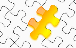 Glossy yellow 3d puzzle on paper Royalty Free Stock Photography