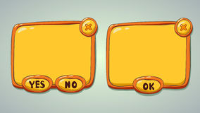 Glossy yellow cartoon panels for game or web UI. Including yes/no and OK buttons vector illustration