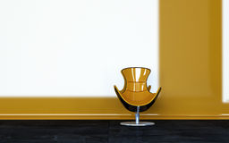 Glossy Yellow Chair Inside an Architectural Room Royalty Free Stock Photography