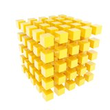 Glossy yellow cube composition made of smaller ones. As abstract background isolated on white Stock Illustration