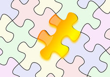 Glossy yellow puzzle on paper Stock Images