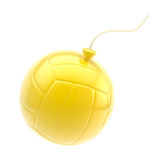Glossy yellow volleyball ball as a bomb isolated Royalty Free Stock Photography