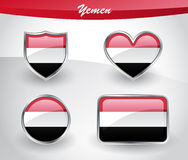 Glossy Yemen flag icon set Stock Images