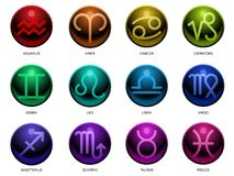 Glossy Zodiac signs Royalty Free Stock Photos