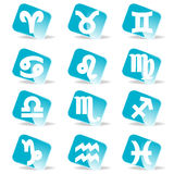 Glossy zodiac signs vector icon set Stock Photo