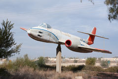 Gloster Meteor monument. Gloster Meteor plane monument at Hatzerim, Israel Stock Photos