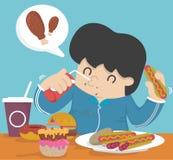 Glotonería, comiendo demasiado la grasa Imagenes de archivo