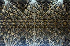 Gloucester Cathedral ceiling architecture geometry. Gloucester Cathedral ceiling architecture focusing on the lines and geometry stock photography