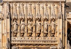 Gloucester Cathedral Sculptures. Religious sculpture detail on the Cathedral church of St Peter and the Holy and Indivisible Trinity, Gloucester Royalty Free Stock Photography
