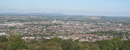 Gloucester City, England. A panoramic picture of Gloucester City, including the Cathedral taken from Robinswood Hill, nr. Maton Stock Photos