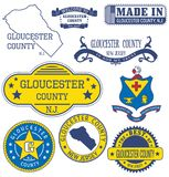 Gloucester county, NJ. Set of generic stamps and signs. Gloucester county, New Jersey. Set of generic stamps and signs Royalty Free Stock Image